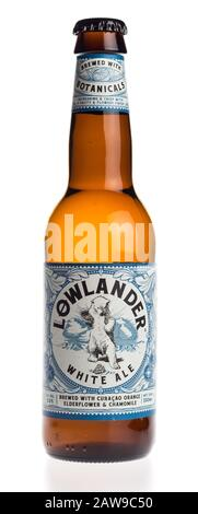 Bottle of dutch Lowlander White Ale beer isolated on a white background - Stock Photo