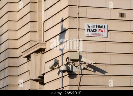 London, England, UK. Security cameras in Whitehall - Stock Photo