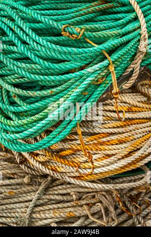Spooled up and stowed rope and twisted nylon line, used for commercial longline fishing, on Katlian street in Sitka, Alaska, USA.  Longline fishing, o - Stock Photo