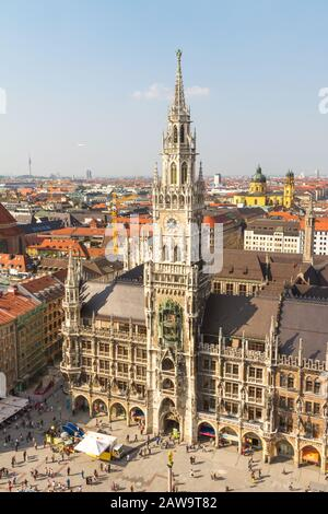Beautiful super wide-angle sunny aerial view of Munich, Bayern, Bavaria, German