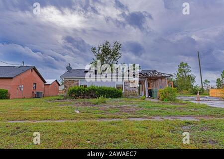 Panama City, Florida, USA 10/16/2019. One year after hurricane michael there is still lots of devastation of homes and properties that have not been r - Stock Photo