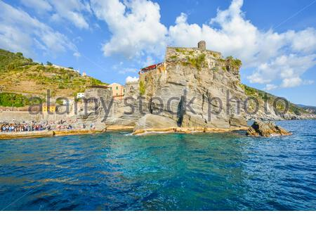The Castello Doria, the ancient fort along the Ligurian Coast is visible from the sea at the village of Vernazza, Italy, part of the Cinque Terre - Stock Photo