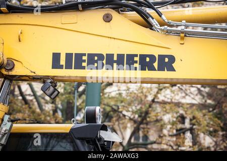 PRAGUE, CZECHIA - NOVEMBER 3, 2019: Liebherr logo on some equipment machinery on a construction site in Prague. Liebherr is a German Swiss manufacture - Stock Photo