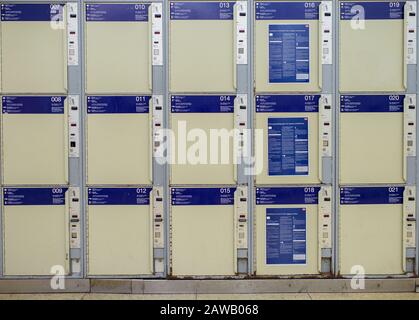 Berlin, Germany. 04th Feb, 2020. Three rows of lockers can be seen at Alexanderplatz station. Credit: Gregor Fischer/dpa/Alamy Live News - Stock Photo
