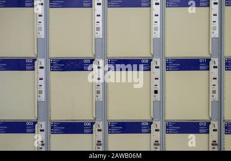 Berlin, Germany. 04th Feb, 2020. Lockers for travellers' luggage can be seen at Alexanderplatz station. Credit: Gregor Fischer/dpa/Alamy Live News - Stock Photo