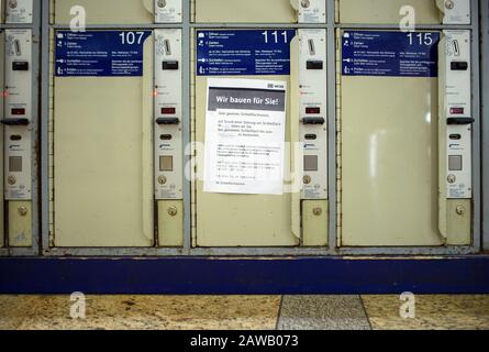 Berlin, Germany. 04th Feb, 2020. A note ('We build for you') from Deutsche Bahn is attached to a locker at Alexanderplatz station. Credit: Gregor Fischer/dpa/Alamy Live News - Stock Photo