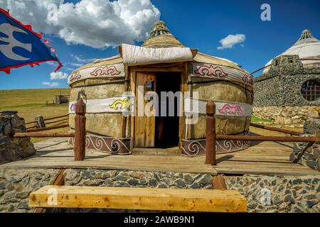 Gers and Scenery at the 13th Century Village Attraction in Mongolia. - Stock Photo