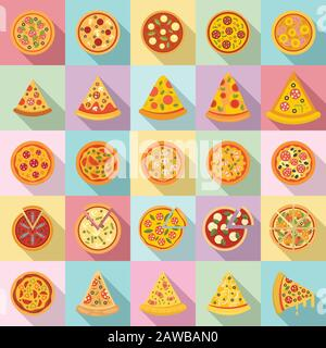Pizza icons set. Flat set of pizza vector icons for web design - Stock Photo