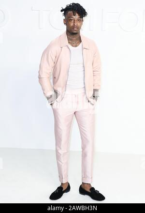 HOLLYWOOD, LOS ANGELES, CALIFORNIA, USA - FEBRUARY 07: 21 Savage arrives at the Tom Ford: Autumn/Winter 2020 Fashion Show held at Milk Studios on February 7, 2020 in Hollywood, Los Angeles, California, United States. (Photo by Xavier Collin/Image Press Agency) - Stock Photo