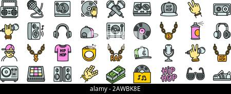 Hiphop icons set. Outline set of hiphop vector icons for web design isolated on white background - Stock Photo