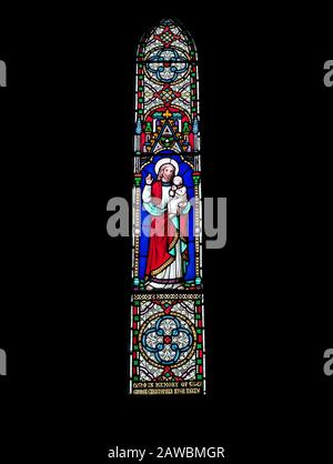 A Victorian Stained Glass Window within the Church of St Michael and All Angels next to Ford Castle in Northumberland. - Stock Photo