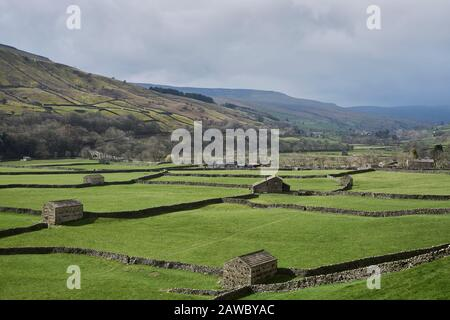 Barns in Swaledale at Gunnerside - Stock Photo