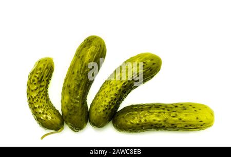 pickled cucumbers, isolated on white - Stock Photo