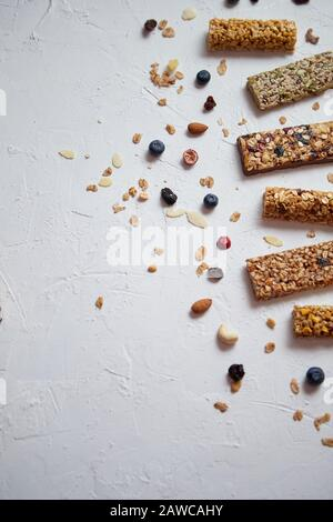 Composition of healthy raw dessert snack. Fitness dietary food - Stock Photo