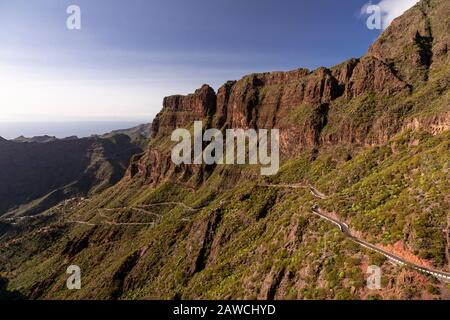 Road through volcanic landscape around Santiago del Teide, Tenerife, Canary Islands - Stock Photo