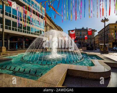 Brightly lit water fountain in Rijeka Croatia Europe - Stock Photo