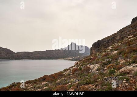 Ruins of Venetian fort on Imeri Gramvousa Island near island of Crete, Greece in summer - Stock Photo