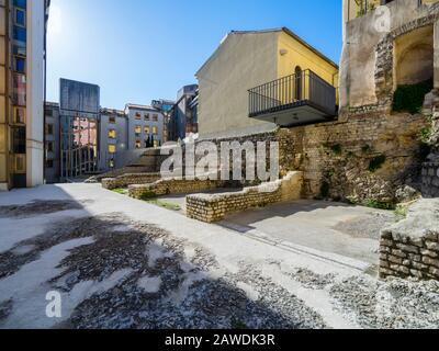 Architectural remains of medieval houses in center of Rijeka Croatia Europe - Stock Photo