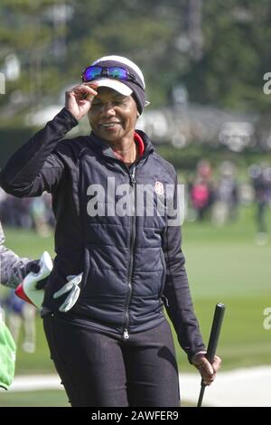 Pebble Beach, USA. 08th Feb, 2020. Monterey, California, USA February 7th 2020 Condoleezza Rice, ex Secretary of State holes a long putt on 18 on the third day of the AT&T Pro-Am PGA Golf event at Pebble Beach Credit: Motofoto/Alamy Live News - Stock Photo