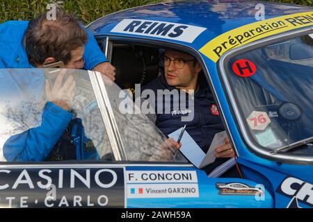 BUIS-LES-BARONNIES, FRANCE, February 1, 2020 : Drivers of Historic Monte-Carlo Rally. This 23rd edition hosts 310 teams from 28 countries with 40 bran - Stock Photo