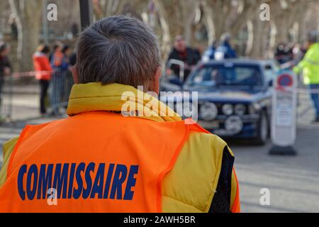 BUIS-LES-BARONNIES, FRANCE, February 1, 2020 : Marshall of Historic Monte-Carlo Rally. This 23rd edition hosts 310 teams from 28 countries with 40 bra - Stock Photo