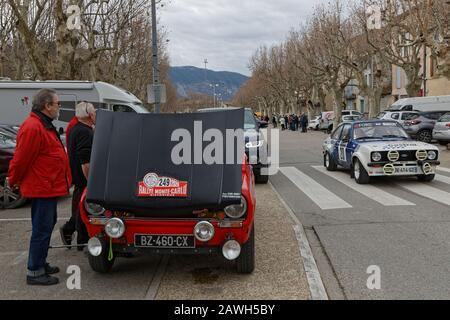 BUIS-LES-BARONNIES, FRANCE, February 1, 2020 : Historic Monte-Carlo Rally runs on the roads of South of France. This 23rd edition hosts 310 teams fr - Stock Photo