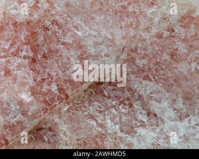 Rose quartz texture background, close up of pink gemstone surface - Stock Photo