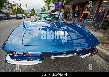 Vancouver, B.C., Canada: 1967 Chevrolet Corvette Sting ray Convertible photographed from a front low angle. The car roof is removed. - Stock Photo