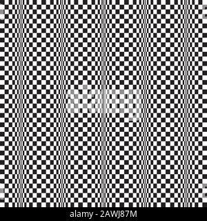 Seamless op art wave motion distortion pattern background. Vector Illustration. - Stock Photo