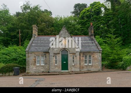 A head on photo of Jubilee Cottage, a traditional 2 roomed cottage built in 1887 in the Village of Ford in rural Northumberland. - Stock Photo