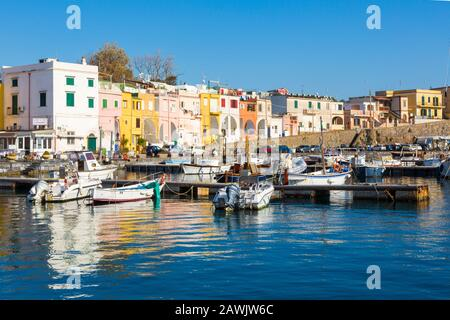 PROCIDA, ITALY - JANUARY 3, 2020 - Chiaiolella bay with its colored houses is a tourists attraction - Stock Photo