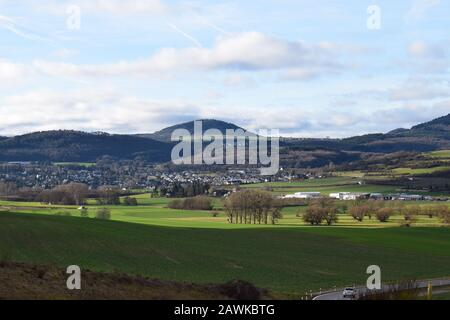 view across green Eifel valley - Stock Photo