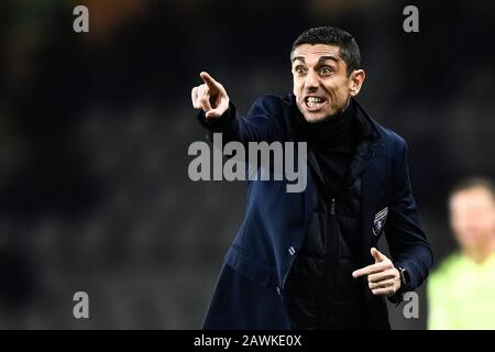 Turin, Italy - 08 February, 2020: Moreno Longo, head coach of Torino FC,  reacts during the Serie A football match between Torino FC and UC Sampdoria. UC Sampdoria won 3-1 over Torino FC. Credit: Nicolò Campo/Alamy Live News - Stock Photo