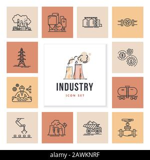 A large vector set of industry icons and production in a linear style. - Stock Photo