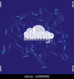 Cloud computing network concept. Data protection. Global cyber space network security concept.Vector illustratio - Stock Photo