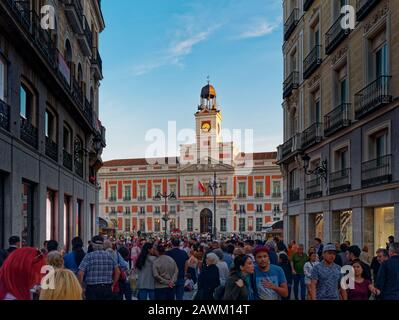 Madrid, Spain - Oct 2019: Crowd of people in Puerta del Sol (Gate Sun) square - Stock Photo