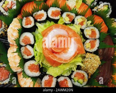 Japanese food sushi and sashimi composition plate top view - Stock Photo
