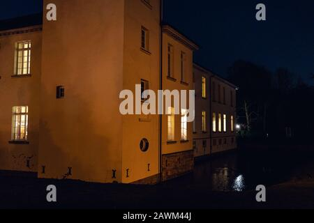 Castle Westerholt with reflection in the water in Germany - Stock Photo