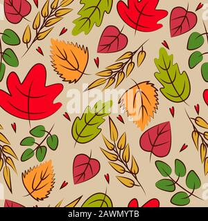 Autumn bright leaves vector seamless pattern - Stock Photo