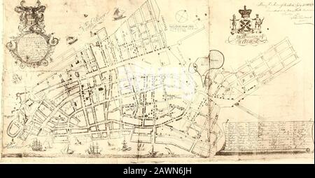 James Lyne's survey, or, as it is more commonly known, The Bradford map; . John Pintard and the Estate ofCapt. John Searle (his brother-in-law) deceasd aredesired to bring in their Accompts : and all thosewho are Indebted to them are desired to pay theBallance to said Pintard to save further Trouble.Also the Utensils in the Rope-walk are to be sold,and sundry Ship Chandlery Wares. THE BRADFORD MAP Gov^ Montgomerie arrivedApril 15, 1728. Died July i,1731. Now, with this statementmade in 1807 by John Pintard,before their eyes, why shouldthe copyists guess at the date of1728 ? At the same time (1