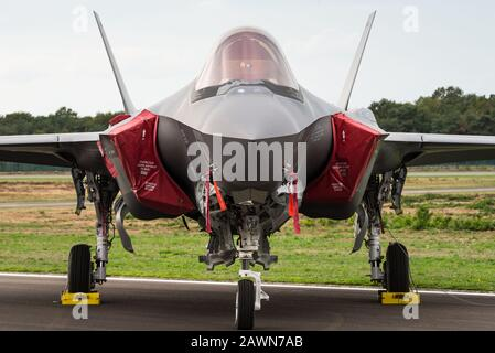 A Lockheed Martin F-35 Lightning II stealth multirole combat aircraft of the Italian Air Force. - Stock Photo