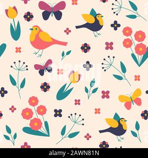 Seamless pattern seasons spring birds, flowers and leaves - Stock Photo