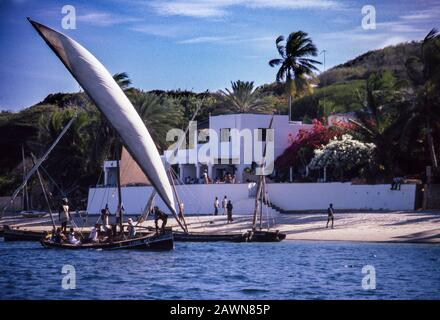 Peponi Hotel on the beach, near old town of Lamu, island off Indian Ocean coast of Kenya. - Stock Photo