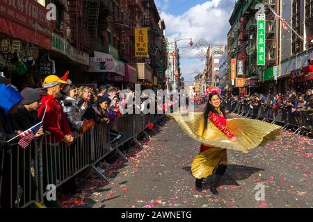 New York, USA. 9th Feb, 2020. A dancer performs during the Chinese New Year parade in Chinatown. Credit: Enrique Shore/Alamy Live News - Stock Photo