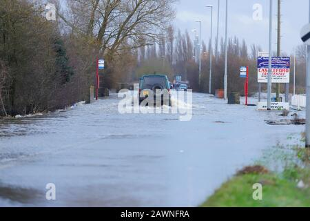 Barnsdale Road in Castleford, became flooded after Storm Ciara brought heavy rain to the UK ,causing flash flooding in many parts of the country. - Stock Photo
