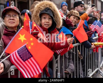 New York, New York, USA. 9th Feb, 2020. New York, New York, U.S.: people attend the annual Lunar New Year Parade and Festival in Chinatown. Credit: Corine Sciboz/ZUMA Wire/Alamy Live News - Stock Photo