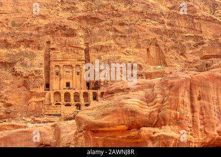 Petra in Jordan. Facade of Roman soldier's tomb so called Urn tomb, the Court, s located in the side of the mountain known as al-Khubta, above Wadi - Stock Photo