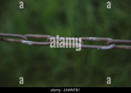 Steel Chain with blurry green background - Stock Photo
