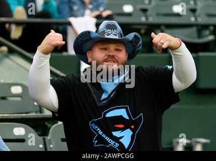 Arlington, Texas, USA. 9th Feb, 2020. Dallas Renegades fan during the 1st half of the XFL game between St. Louis Battlehawks and the Dallas Renegades at Globe Life Park in Arlington, Texas. Credit: Cal Sport Media/Alamy Live News - Stock Photo