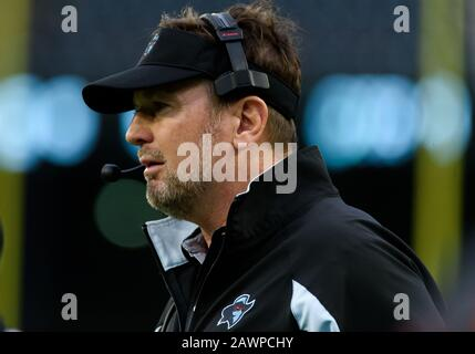 Arlington, Texas, USA. 9th Feb, 2020. Dallas Renegades head coach Bob Stoops during the 1st half of the XFL game between St. Louis Battlehawks and the Dallas Renegades at Globe Life Park in Arlington, Texas. Credit: Cal Sport Media/Alamy Live News - Stock Photo
